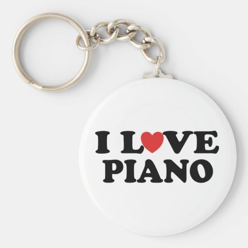 I Love Heart Piano Music Gifts Keychains