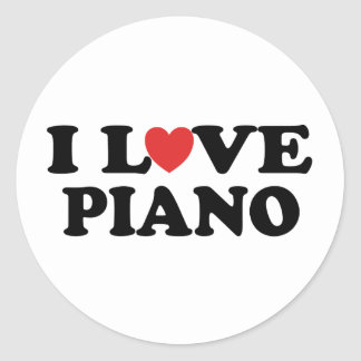 I Love Heart Piano Music Gifts Round Stickers