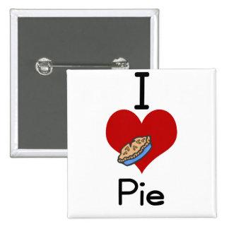 I love-heart pie 2 inch square button