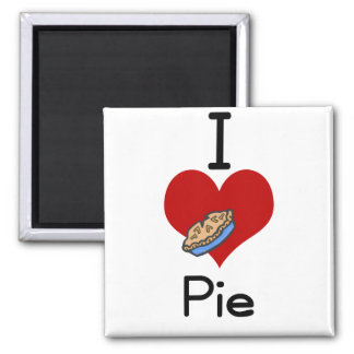 I love-heart pie 2 inch square magnet