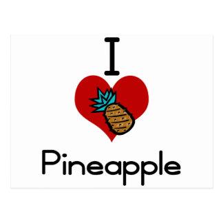 I love-heart pineapple postcard