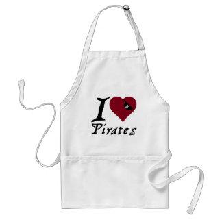 I Love (Heart) Pirates Adult Apron