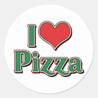 I Love Heart Pizza Classic Round Sticker