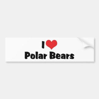 I Love Heart Polar Bears Bumper Sticker