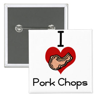 I love-heart pork chop 2 inch square button