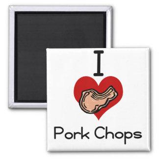 I love-heart pork chop 2 inch square magnet