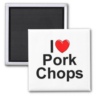 I Love (Heart) Pork Chops 2 Inch Square Magnet