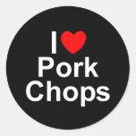 I Love (Heart) Pork Chops Classic Round Sticker