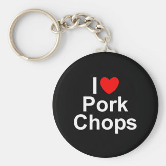 I Love (Heart) Pork Chops Keychain
