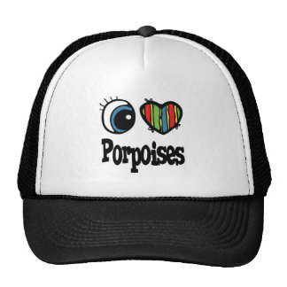 I Love (Heart) Porpoises Hats