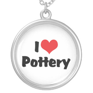 I Love Heart Pottery - Clay Lover Silver Plated Necklace