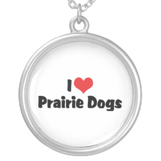 I Love Heart Prairie Dogs Silver Plated Necklace