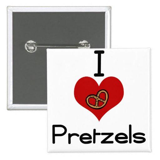 I love-heart pretzel 2 inch square button