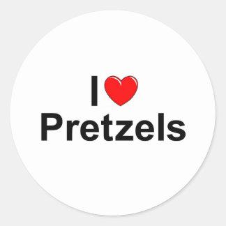 I Love (Heart) Pretzels Classic Round Sticker