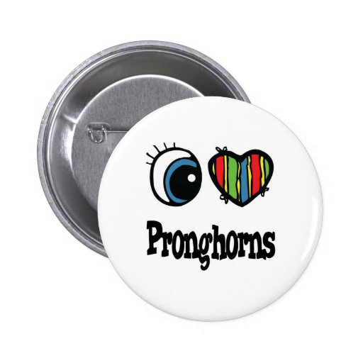 I Love (Heart) Pronghorns 2 Inch Round Button