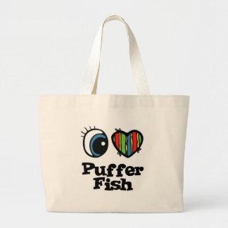 I Love (Heart) Puffer Fish Jumbo Tote Bag