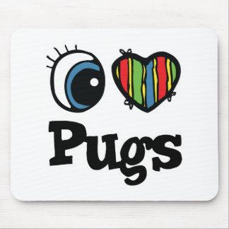 I Love (Heart) Pugs Mouse Pads