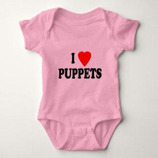 I LOVE (HEART) PUPPETS BABY BODYSUIT