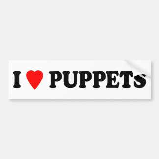 I LOVE (HEART) PUPPETS CAR BUMPER STICKER