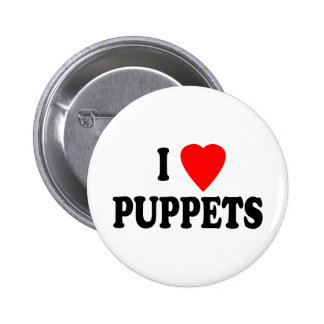 I LOVE (HEART) PUPPETS PINS