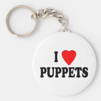 I LOVE (HEART) PUPPETS KEYCHAIN