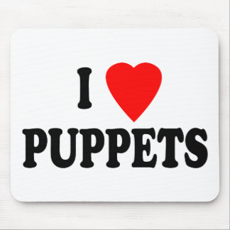 I LOVE (HEART) PUPPETS MOUSE PADS