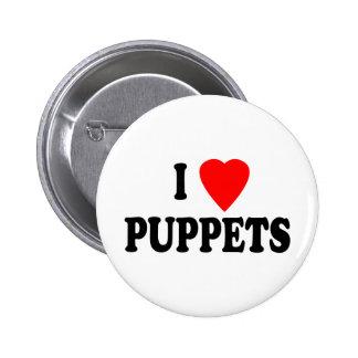 I LOVE (HEART) PUPPETS PINBACK BUTTON