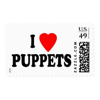 I LOVE (HEART) PUPPETS POSTAGE STAMPS