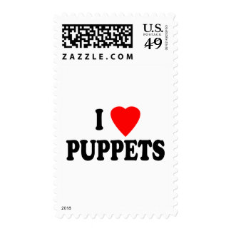 I LOVE (HEART) PUPPETS POSTAGE STAMP