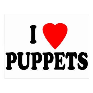 I LOVE (HEART) PUPPETS POSTCARD