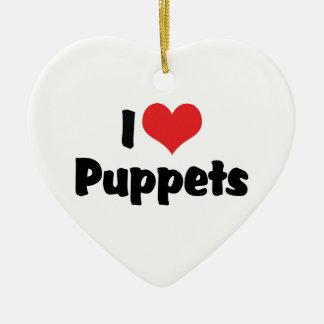 I Love Heart Puppets - Puppet Lover Ceramic Ornament