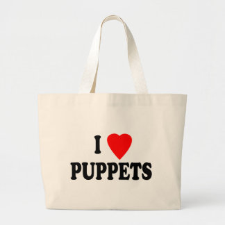 I LOVE (HEART) PUPPETS TOTE BAG