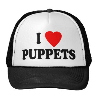 I LOVE (HEART) PUPPETS TRUCKER HATS