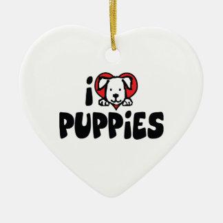 I Love Heart Puppies - Dog Lover Ceramic Ornament