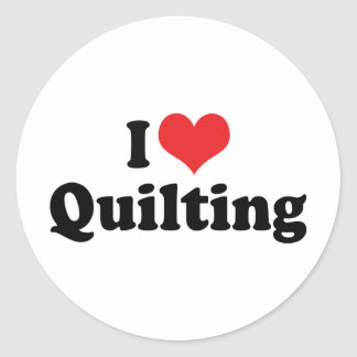 I Love Heart Quilting - Sewing Quilter Classic Round Sticker