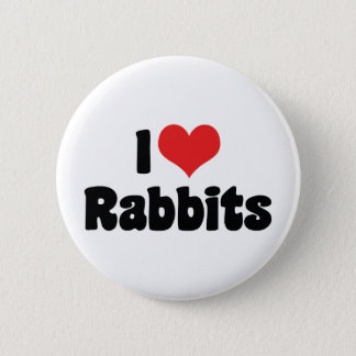 I Love Heart Rabbits Button