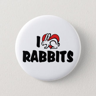 I Love Heart Rabbits Pinback Button
