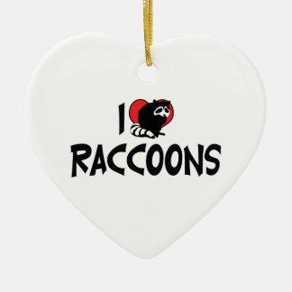I Love Heart Raccoons Ceramic Ornament
