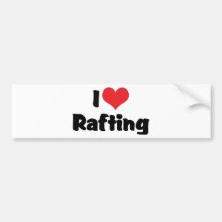 I Love Heart Rafting - White Water Raft Lover Bumper Sticker