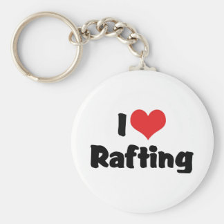 I Love Heart Rafting - White Water Raft Lover Keychain
