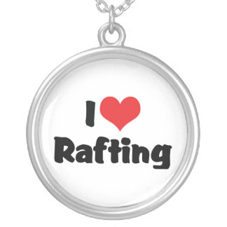 I Love Heart Rafting - White Water Raft Lover Silver Plated Necklace