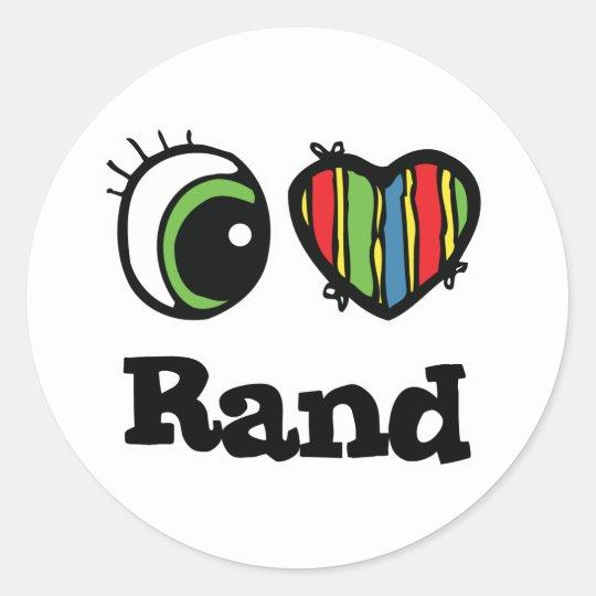 I Love (Heart) Rand Classic Round Sticker