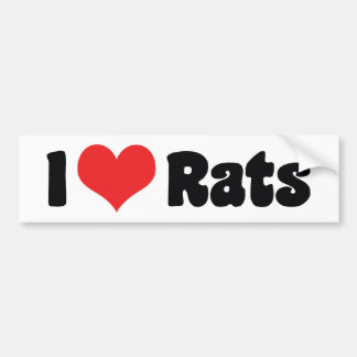 I Love Heart Rats - Pet Rat Lover Bumper Sticker