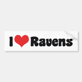 I Love Heart Ravens - Bird Lover Bumper Sticker