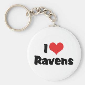 I Love Heart Ravens - Bird Lover Keychain