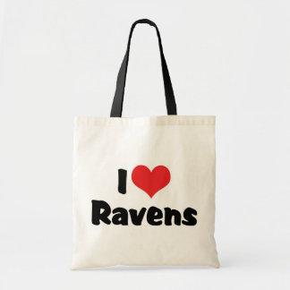 I Love Heart Ravens - Bird Lover Tote Bag