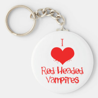 I Love (heart) Red-Headed Vampires Basic Round Button Keychain