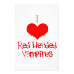 I Love (heart) Red-Headed Vampires Personalized Stationery