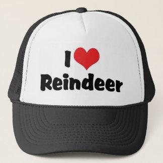 I Love Heart Reindeer Trucker Hat