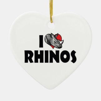I Love Heart Rhinos - Rhinoceros Lover Ceramic Ornament
